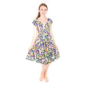 RETROLICIOUS 50s Painted Paradise Dress XS 1068